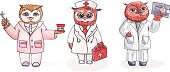 Owls - employees of medicine. Vector watercolor. Set.