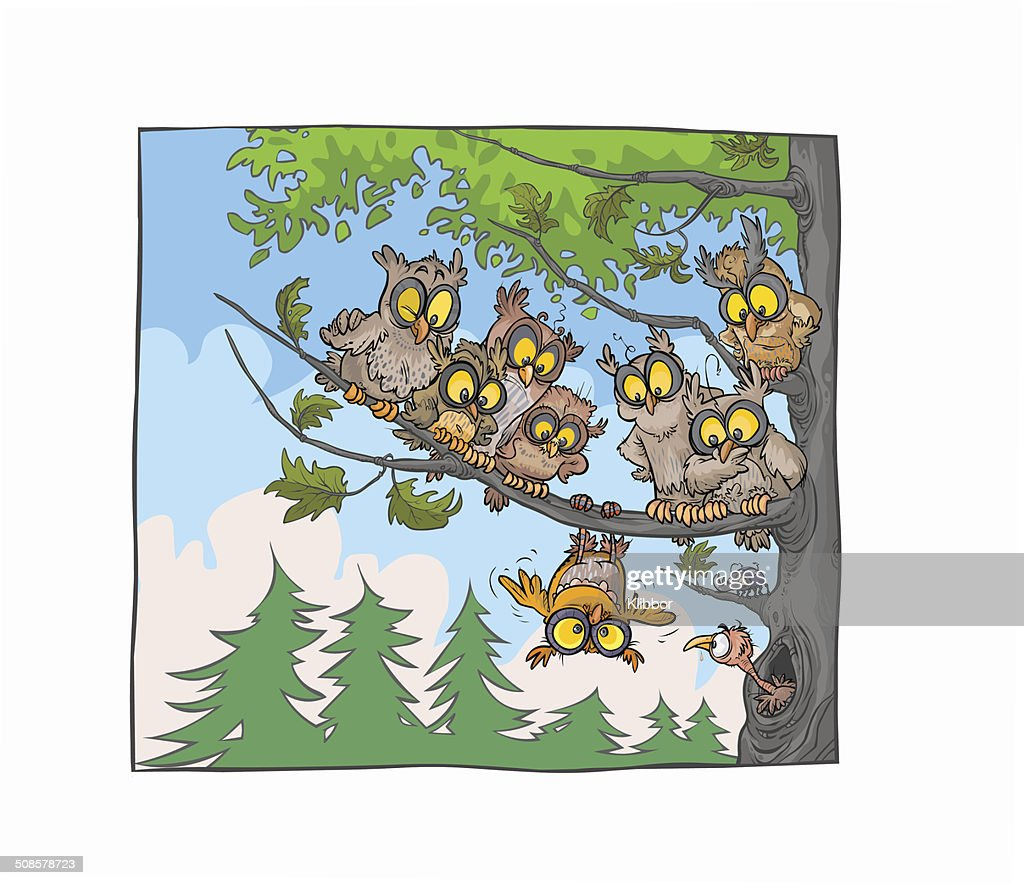 Owls on a tree. : Vector Art