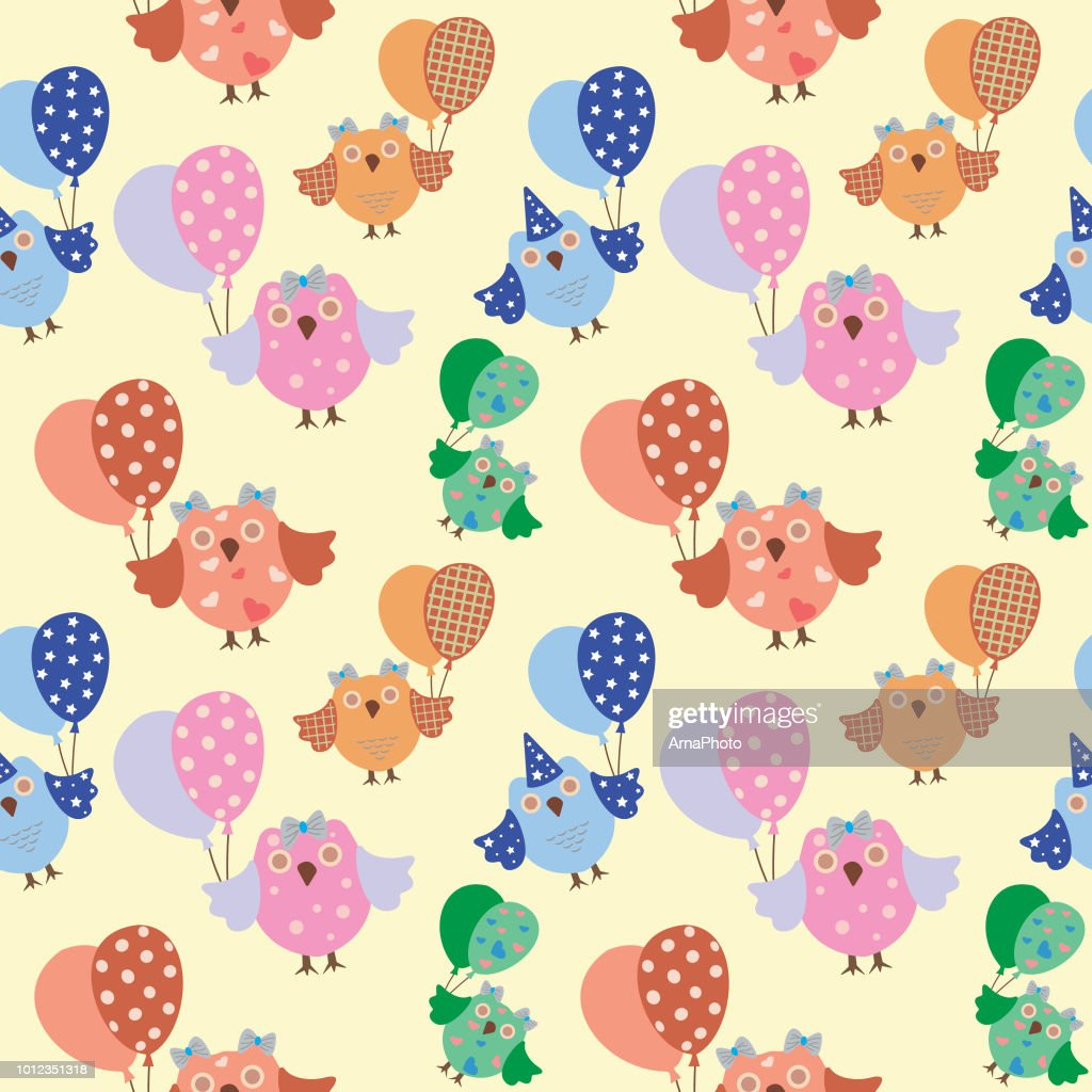 Owls Seamless Pattern. Vector background.