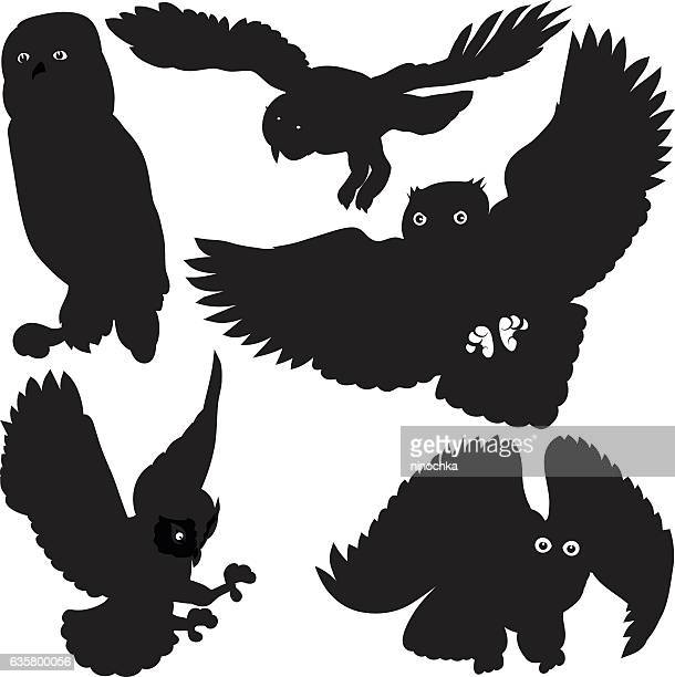 owls silhouettes - owl stock illustrations