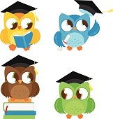 Owls with graduation hats education set