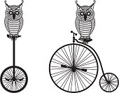 owls with old bicycle