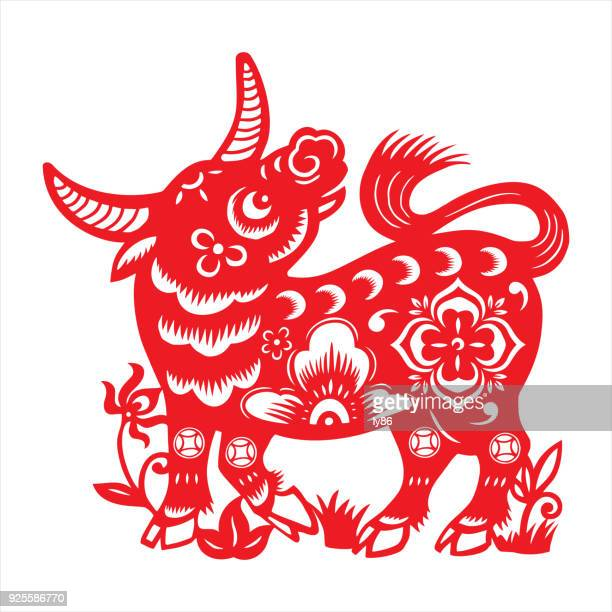 ox, chinese zodiac sign - wild cattle stock illustrations, clip art, cartoons, & icons