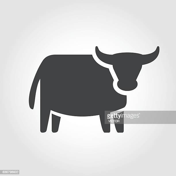 ox icon - iconic series - wild cattle stock illustrations, clip art, cartoons, & icons