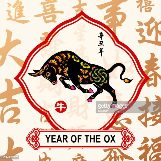 ox year chinese frame - year of the ox stock illustrations
