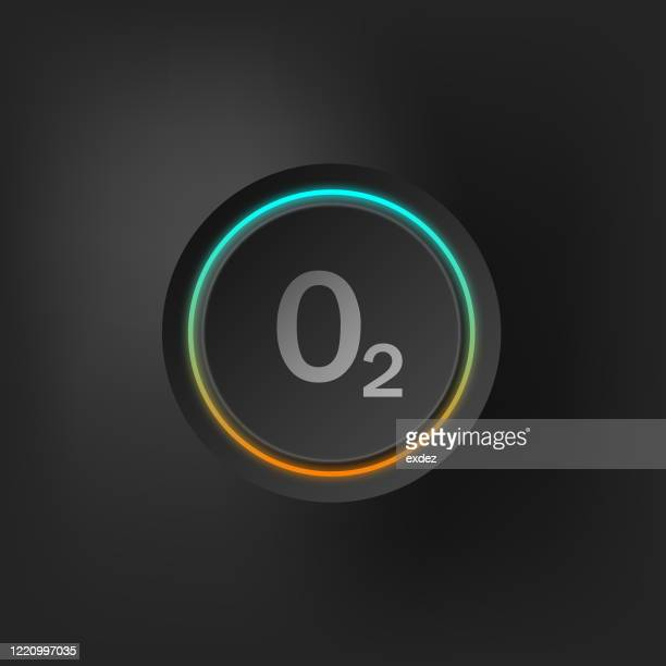 oxygen sign on stylized button - oxygen stock illustrations
