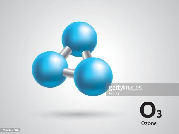 ozon molekular-modell - molekül stock-grafiken, -clipart, -cartoons und -symbole