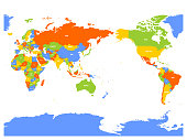 Pacific centered political map of World. Vector illustration