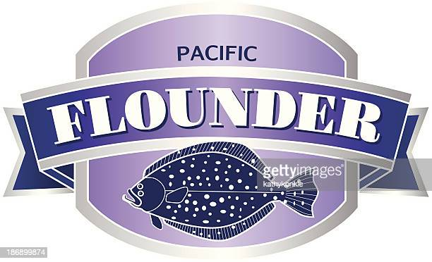 Pacific flounder seafood label or sticker