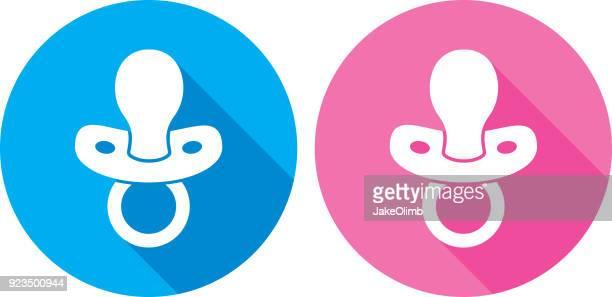 ilustrações, clipart, desenhos animados e ícones de silhueta de ícone de chupeta - bico