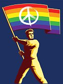 Pacifist man holding rainbow flag with peace sign vector illustration