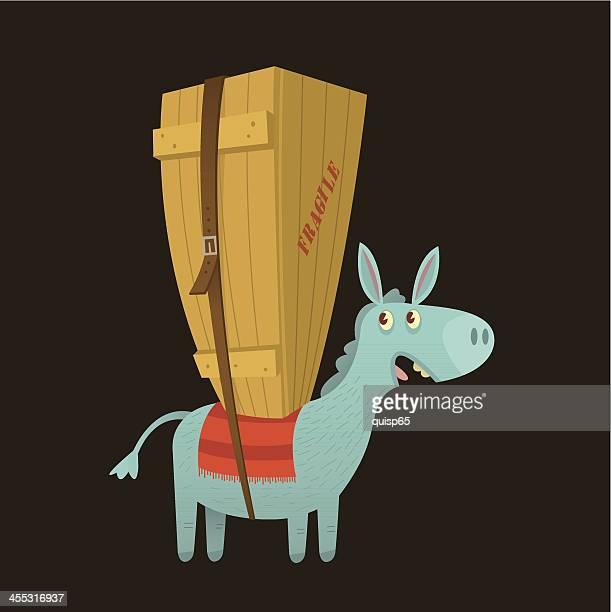 ilustraciones, imágenes clip art, dibujos animados e iconos de stock de paquete mule - mula