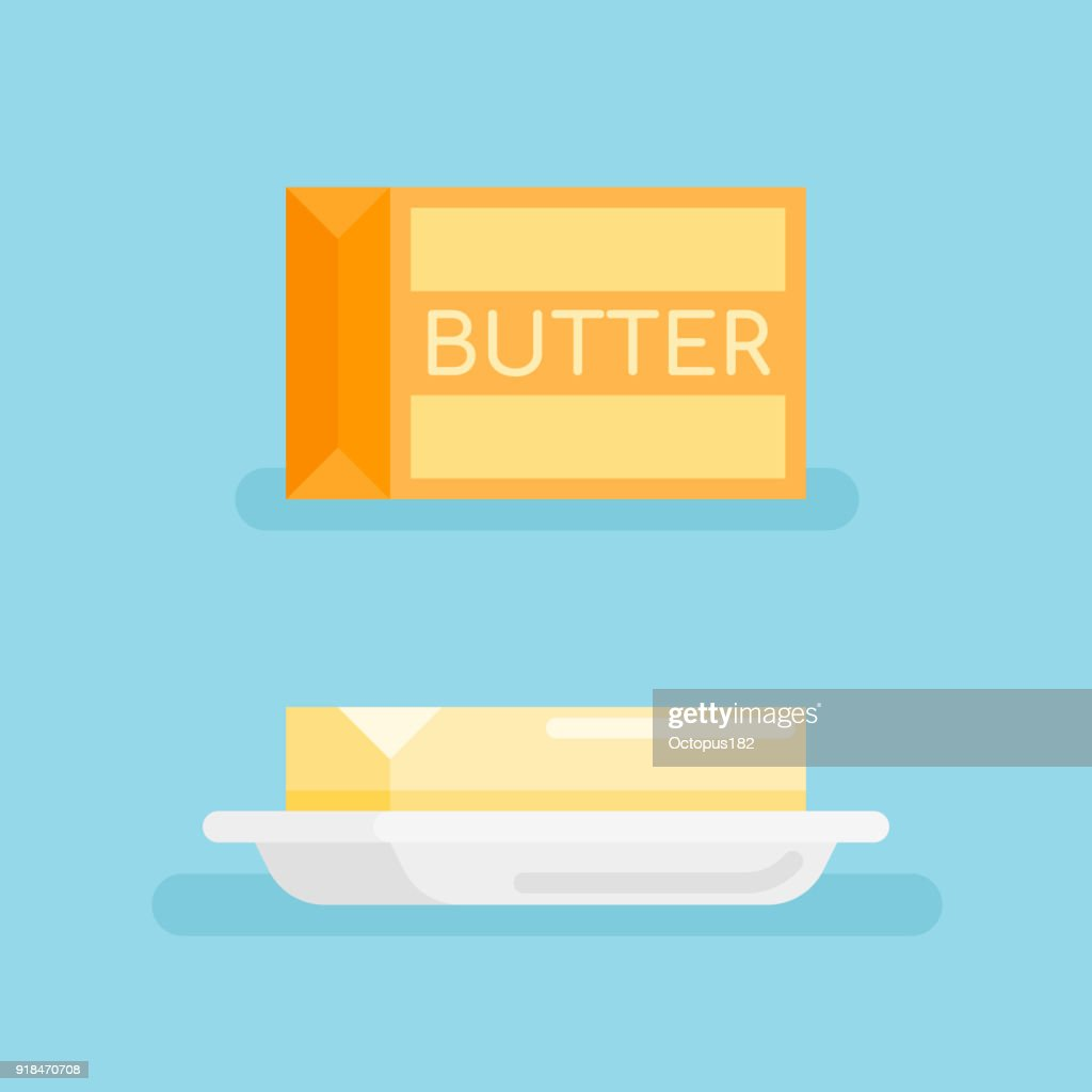 Pack of butter and butter on saucer flat style icon.