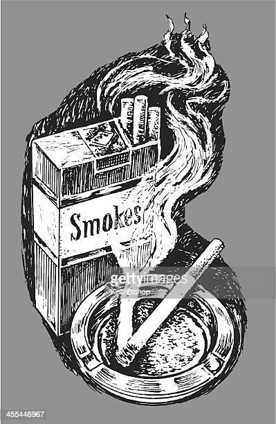 パックのタバコと灰皿