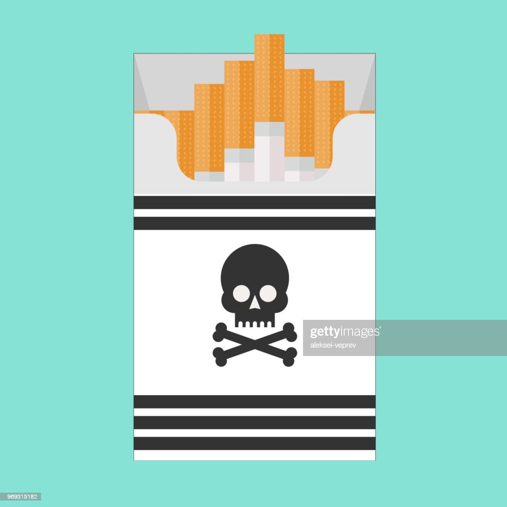 Pack of cigarettes with a skull icon, isolated on blue background