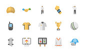 Pack of Cricket Flat Vector Icons