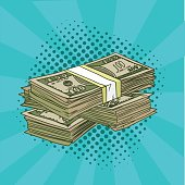 A pack of dollars pop art. Denominations of 100 in the comic style. Vector illustration. EPS 10.