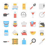 A Pack Of Kitchen Utensils Flat Vector Icons