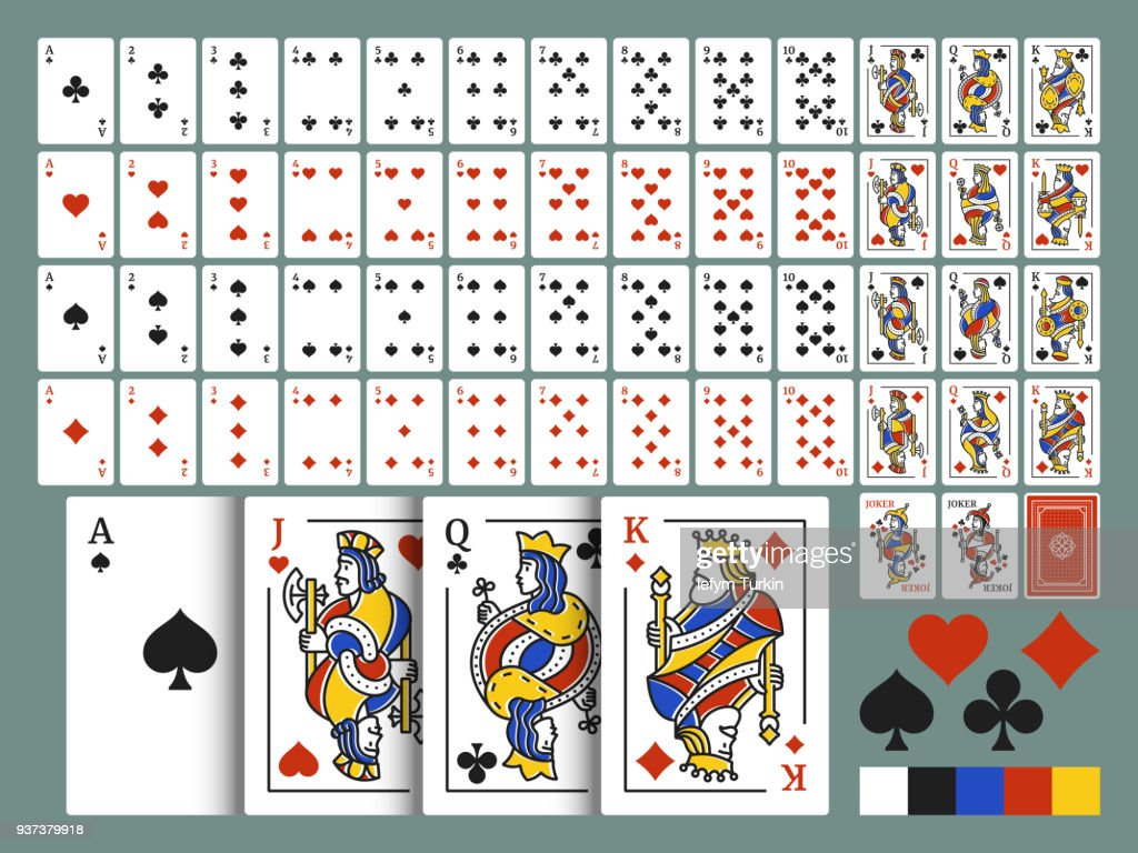 Pack of playing cards for poker. Original full deck of cards in modern line art style. Standard deck of 54 cards. Vector set.
