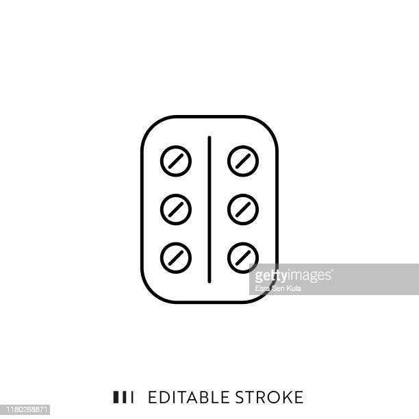 pack pills icon with editable stroke and pixel perfect. - blister stock illustrations