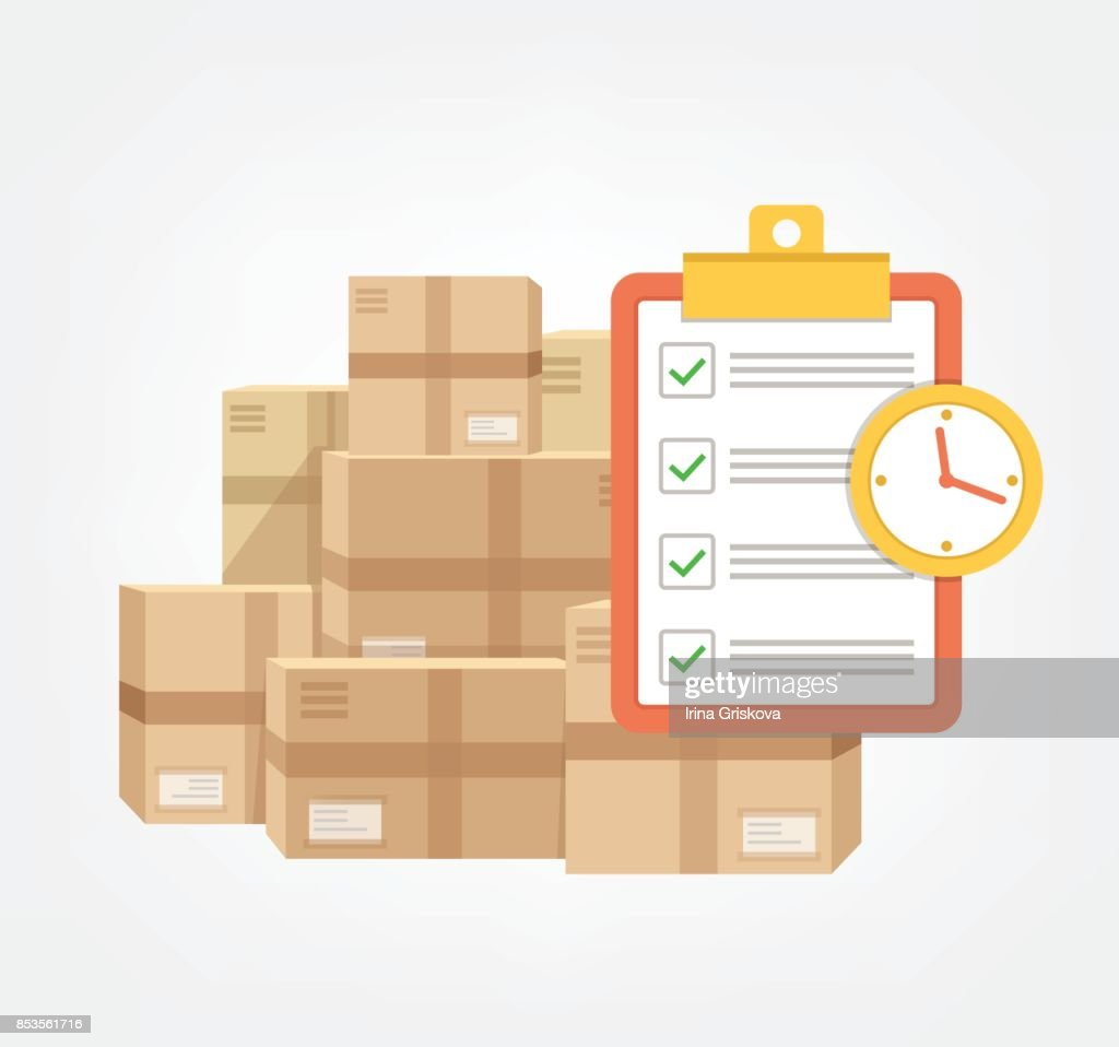 Package box with check list and clock in time.  Logistic fast online delivery concept web icon