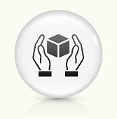 Package Care icon on white round vector button
