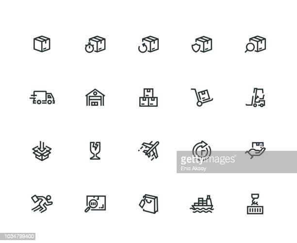 package delivery icon set - thick line series - thick stock illustrations