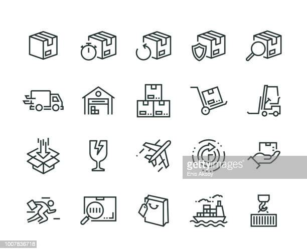 package delivery icon set - fragile sign stock illustrations