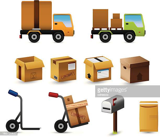 package delivery icon set - hand truck stock illustrations, clip art, cartoons, & icons