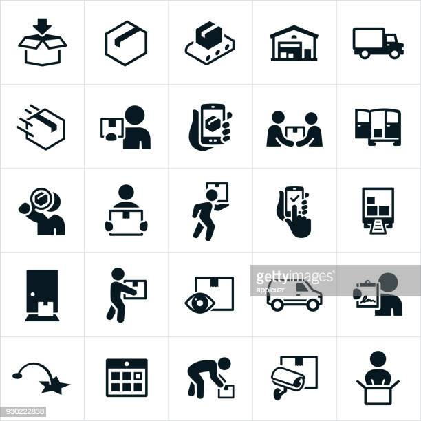 package delivery icons - consumerism stock illustrations