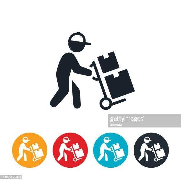 ilustrações, clipart, desenhos animados e ícones de ícone do homem da entrega do pacote - entregador