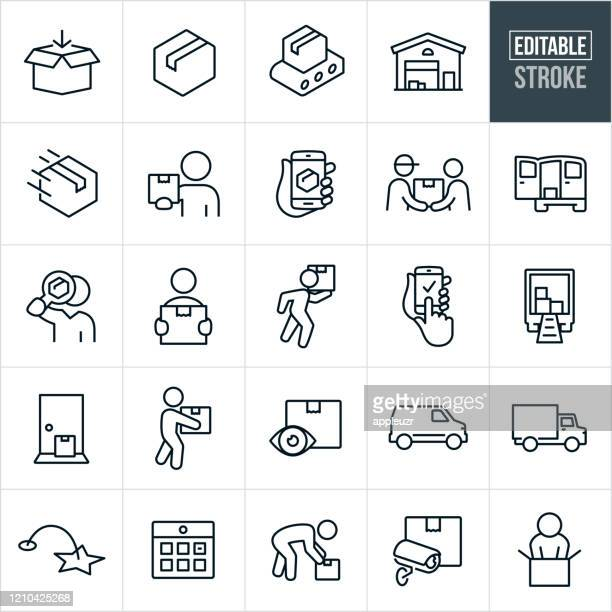 package delivery thin line icons - editable stroke - package stock illustrations
