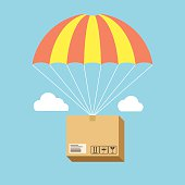 Package flying on parachute, delivery service concept. Flat desi