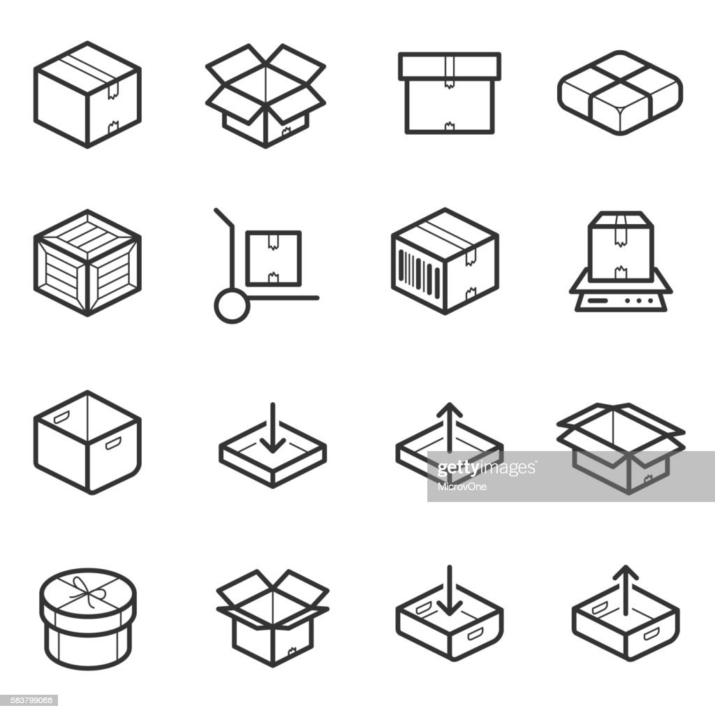 Package line thin icons vector set. Boxes, crates, containers