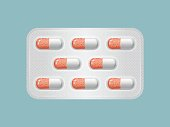 Package of pills. Group of realistic red pharmaceutical drugs.