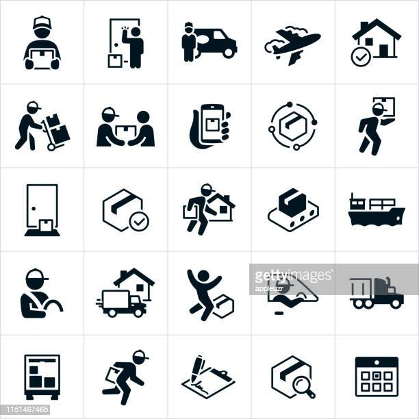 package shipping and delivery icons - commercial land vehicle stock illustrations