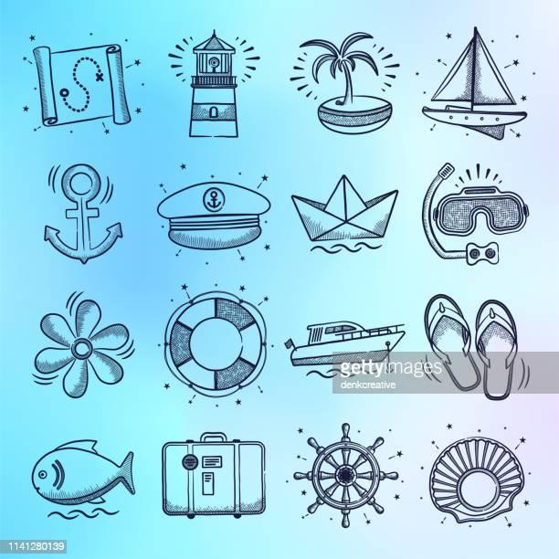 pauschalurlaub & sightseeing-touren doodle style vector icon set - schiff stock-grafiken, -clipart, -cartoons und -symbole