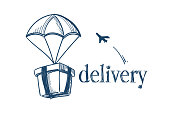 package with parachute fast delivery service concept free air shipping flying plane on white background sketch doodle