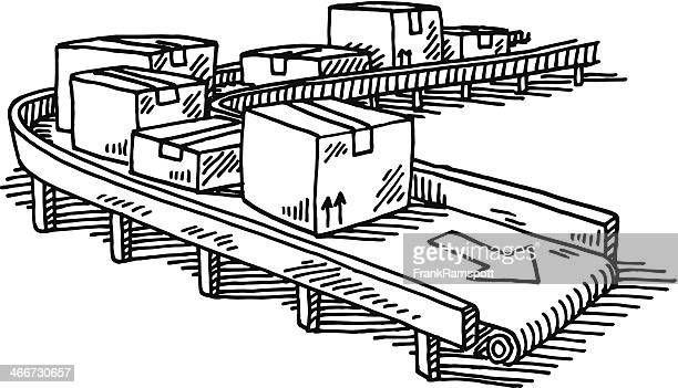 Packages Conveyor Belt Drawing