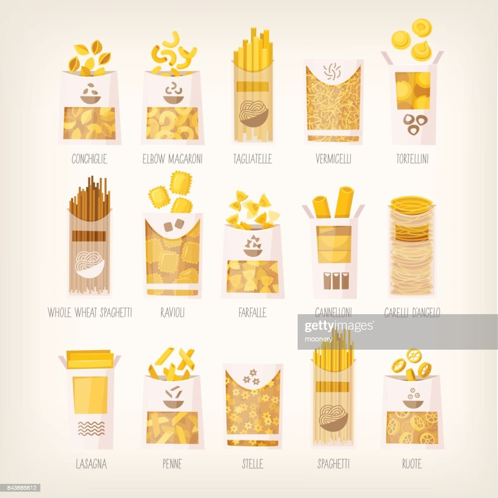 Packages of dry pasta