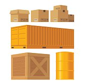 Packaging box, pallet, container, crates, barrel