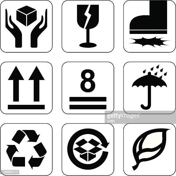 ilustrações, clipart, desenhos animados e ícones de embalagem/caixa caixa pacote símbolo ícone assinar// - fragilidade