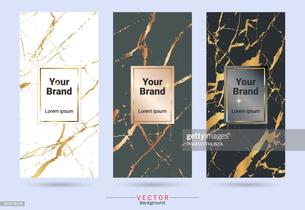 Packaging & label brands design templates, Suitable for luxury or premium products with marble texture, golden foil and linear style (Vector EPS10, Fully editable color change)