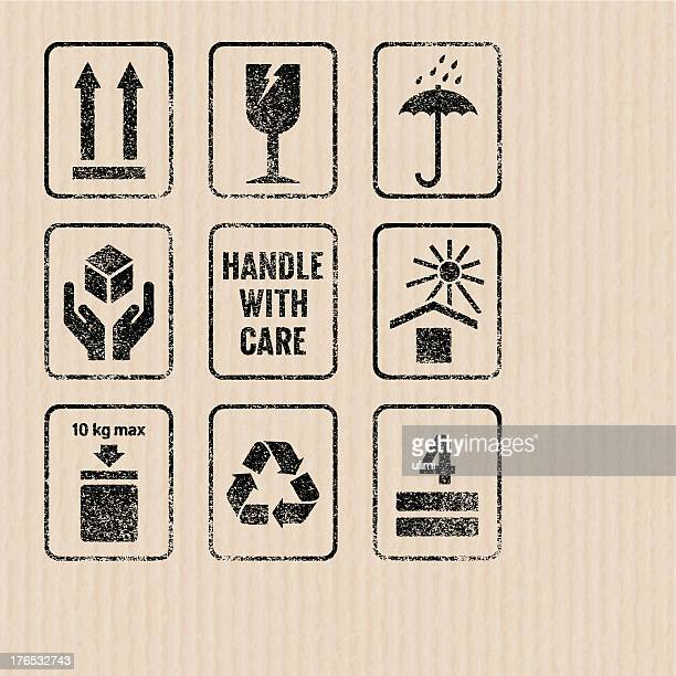 packaging signs - fragile sign stock illustrations