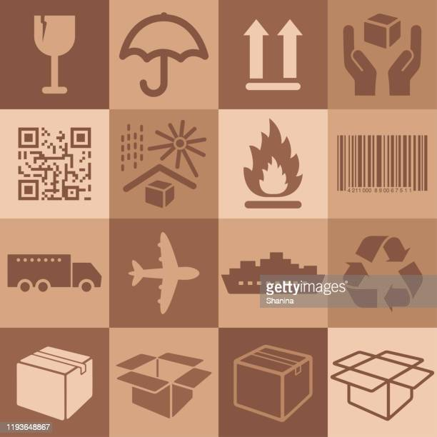 packaging square icons set - fragile sticker stock illustrations
