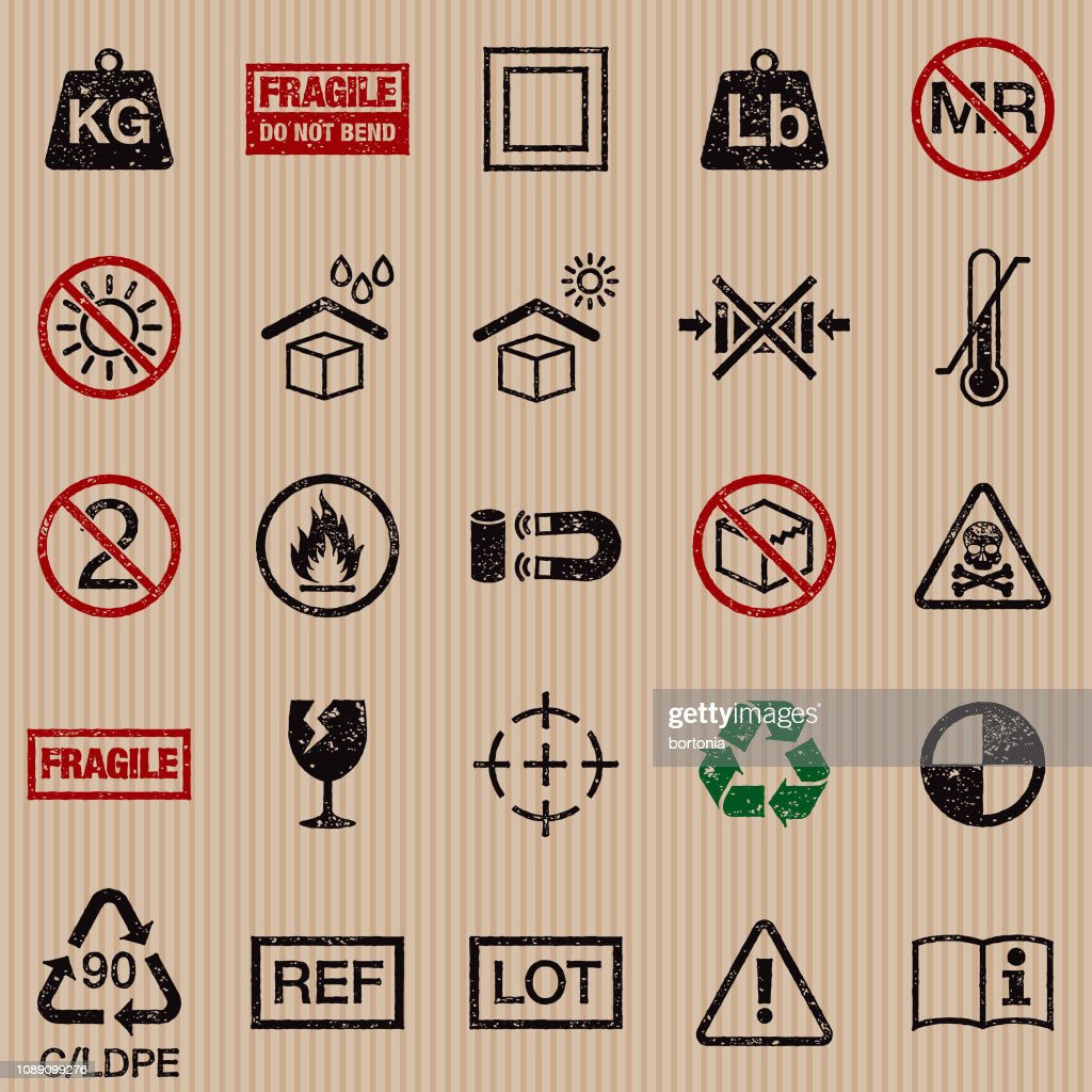 Packaging Symbols Grunge Icon Set stock illustration - Getty