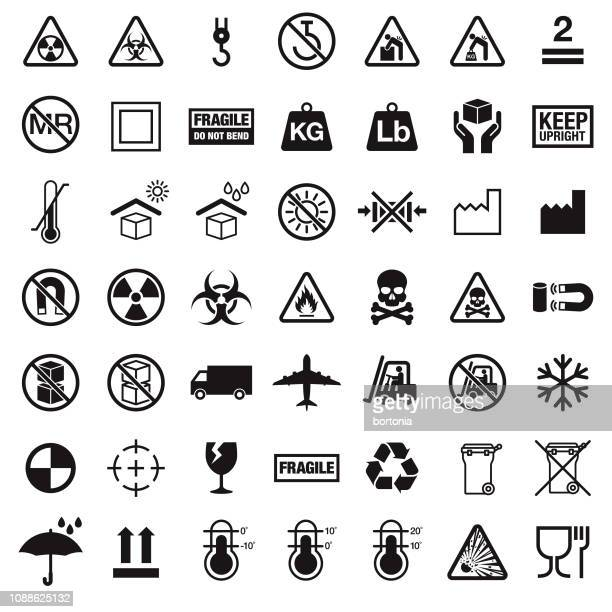 packaging symbols - fragile sign stock illustrations