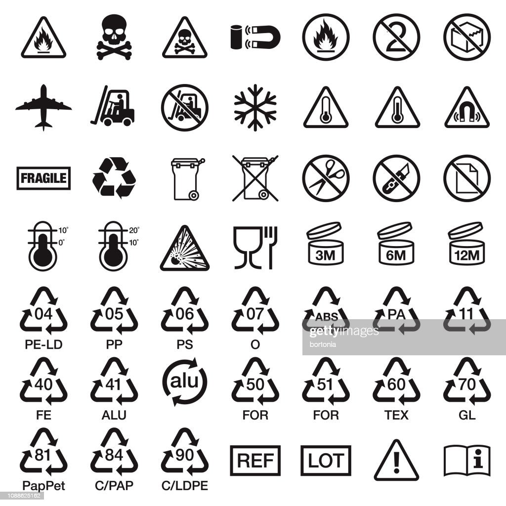 Packaging Symbols Stock Illustration - Getty Images