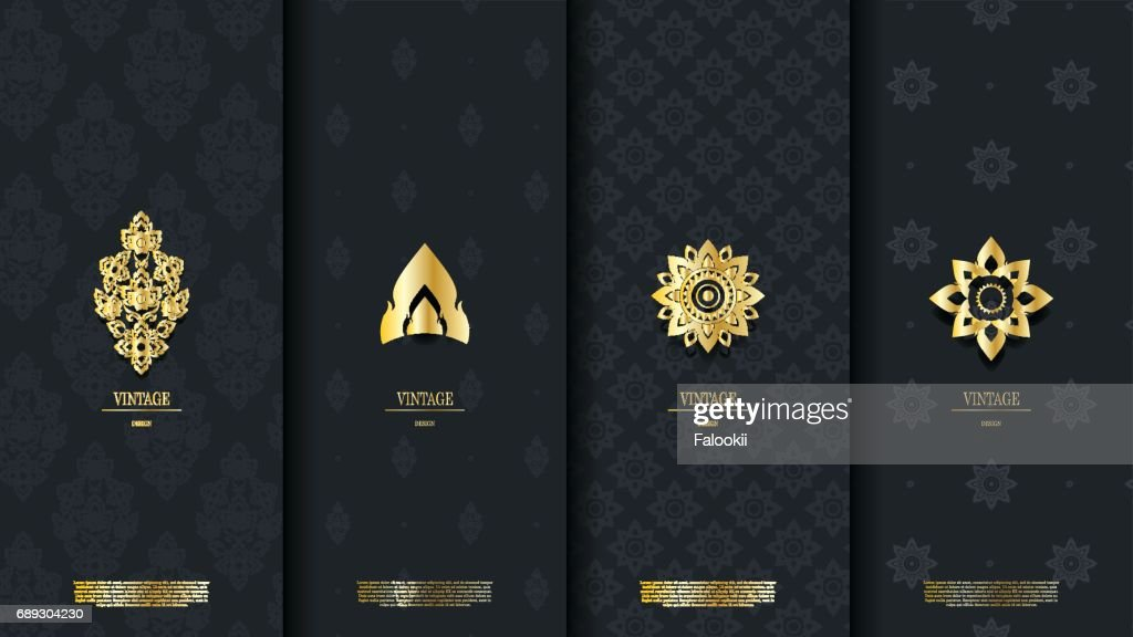 Packaging template of exotic Thai pattern design element concept dark blue vintage background and icon  vector design