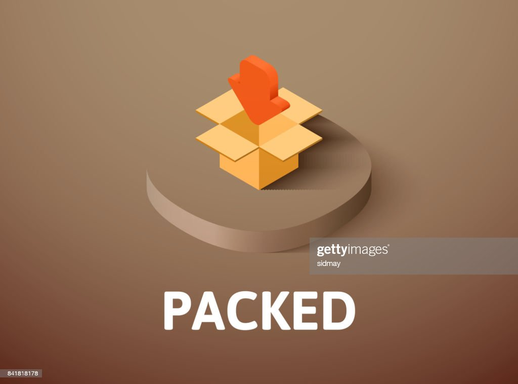 Packed isometric icon, isolated on color background